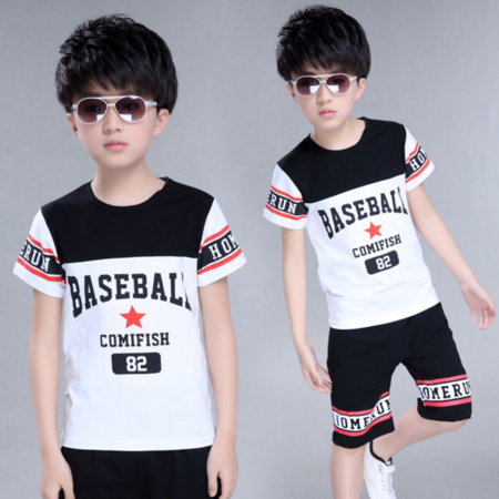 2016新款韩版男童字母套装中大童时尚休闲两件套童装