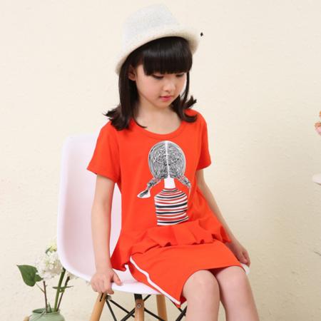 2016新品韩版女童短袖DM1661辫子美女荷叶边T恤两件套短袖套装