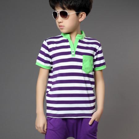 2016男童T恤套装夏款新款童装中大童韩版时尚条纹短袖纯棉
