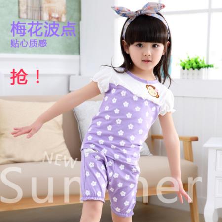2016新款休闲童套装女童夏装小花朵短袖两件套中小童儿童童装