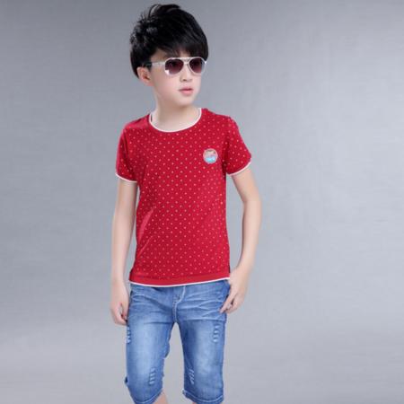 童装男童夏装2016新款中大童儿童韩版短袖T恤休闲牛仔中裤套装