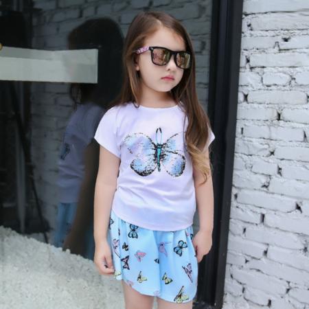 2016新款韩版童短袖套女孩夏装中大童儿童蝴蝶两件套童装