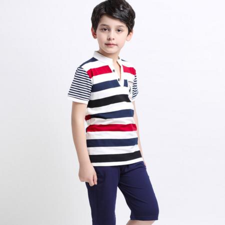 童套装2016夏季新款韩版男童中大童条纹小鹿印花短袖套