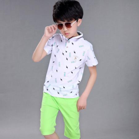 童装男童夏装2016新款中大童棉短袖儿童休闲男孩运动套装夏季潮