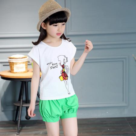 2016韩版童装夏季新款女童短袖美女T恤童套装中大童纯色短裤两件套