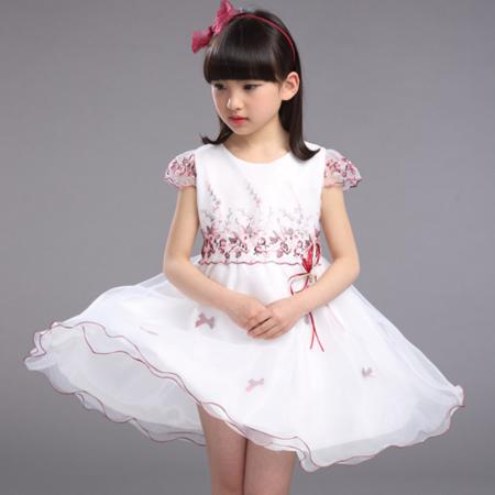 夏季女童礼服裙 2016新款韩版女孩公主风花朵纱裙连衣裙