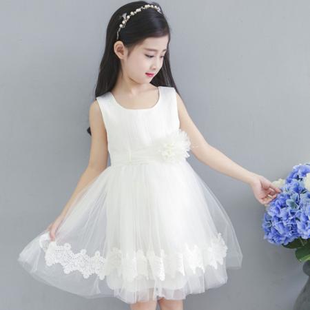 2016新款女童夏季连衣裙时候韩版珍珠花朵腰带网纱后背隐形拉链裙