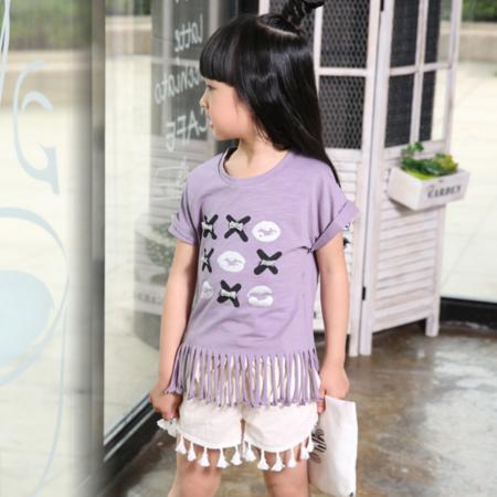 2016夏季新款童装女童韩版套装女孩新品嘴唇套装