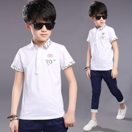 2016夏季新款男童休闲T恤 中大童短袖自行车图案POLO衫
