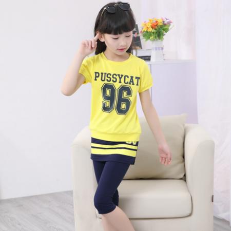2016新款韩版童套装女童夏款数字两件套中大童儿童套装童装