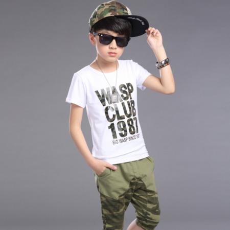 2016短袖套装 夏季儿童装男童时尚迷彩字母拼接迷彩裤套装