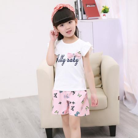 2016韩版儿童新品童套装中裤短袖套纯棉小童字母印花童装