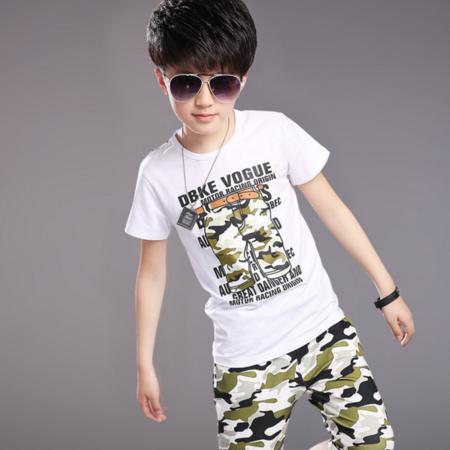 男童中大童2016夏季新款纯棉印花裤子迷彩套装两件套