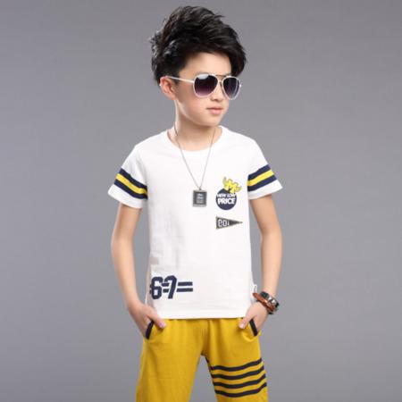 童装2016男童夏季新款儿童运动卡通印花短袖T恤七分裤两件套装