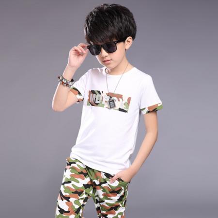 2016夏季新款中大男童纯棉字母迷彩套装短袖中裤两件套装