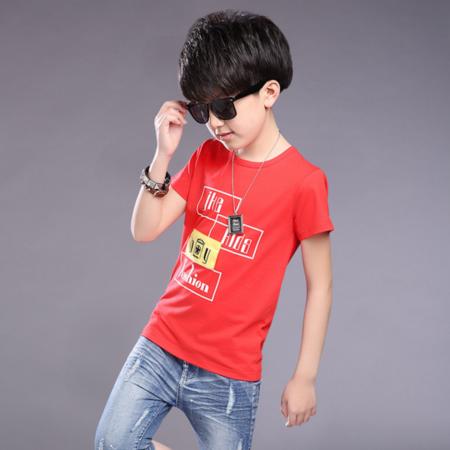 童装2016男童夏季休闲新款T恤 男童短袖全棉字母方块T恤