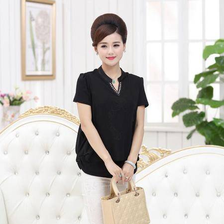 中老年女装2016夏款双层雪纺女式短袖T恤衫V领纯色亮丝上衣小衫