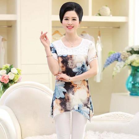 2016夏款中老年休闲T恤衫40-60岁中年雪纺上衣中长款不规则边女装