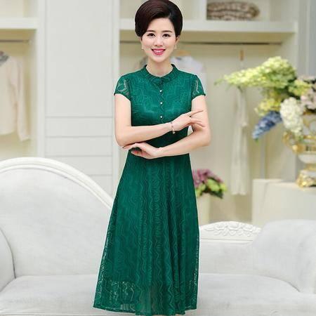 2016中老年气质短袖连衣裙中长款纯色蕾丝妈妈装裙子40-50大码修身衣