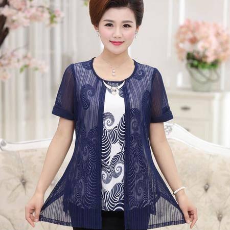 2016中年妈妈装大码修身假两件30-60岁韩版蕾丝短袖女装T恤衫