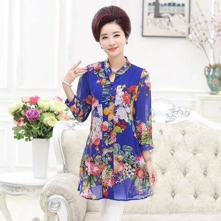 2016中老年女装夏装40-50岁妈妈装印花韩版中长款雪纺衫中袖t恤衫