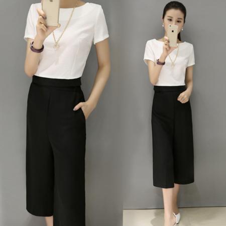 2016夏季新款名媛小香风女装两件套短袖阔腿裤修身时尚休闲套装