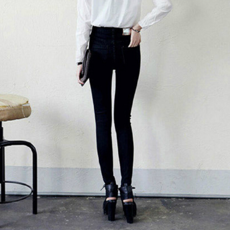 2016时尚新款牛仔裤女式牛仔裤 修身黑色小脚铅笔牛仔裤女