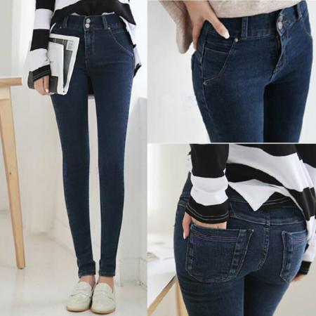 韩国时尚2016新款牛仔裤 休闲简洁深蓝色高腰铅笔牛仔裤 女