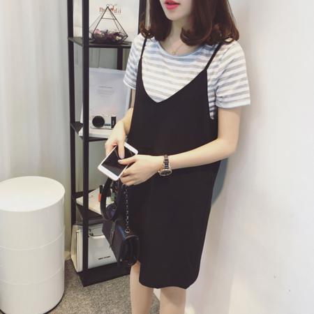 2016夏季新款韩版大码女装胖mm条纹短袖t恤吊带裙子两件套连衣裙