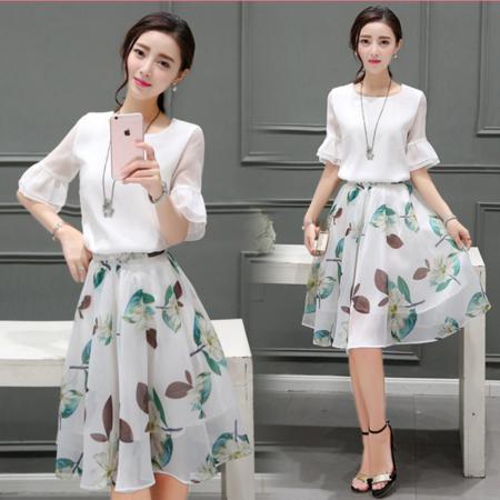 2016夏季新款韩版女装荷叶边短袖雪纺衫印花中长款两件套装裙