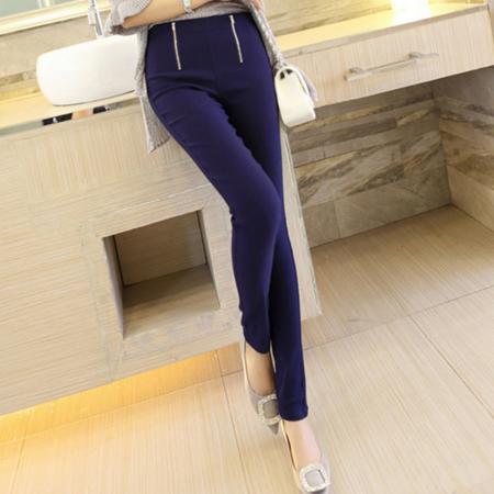 2016韩版双拉链弹力小脚裤外穿大码打底裤女下装铅笔裤