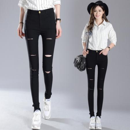 2016韩版女式铅笔裤外穿破洞打底裤紧身弹力小脚裤女士长裤子