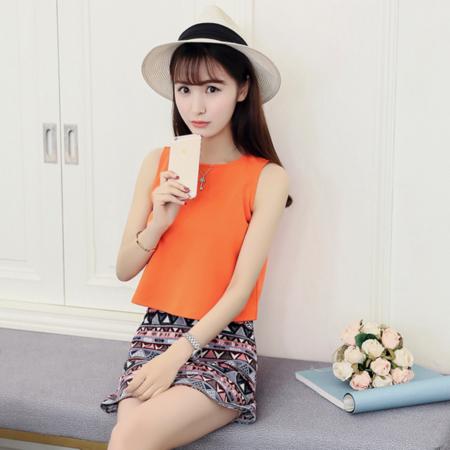 2016夏装新款女装韩版宽松小香风短裙时髦套装