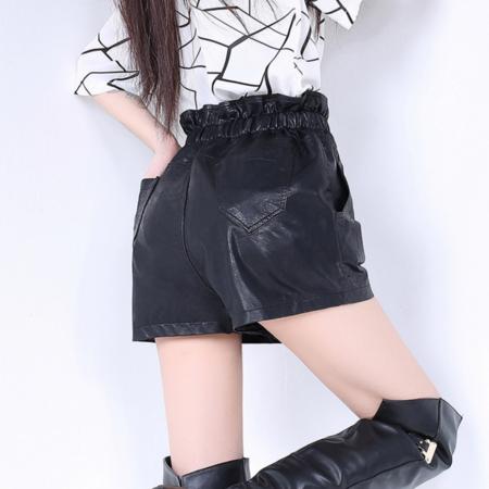 2016水洗PU皮短裤女裤靴裤打底皮裤女休闲阔腿裤 女