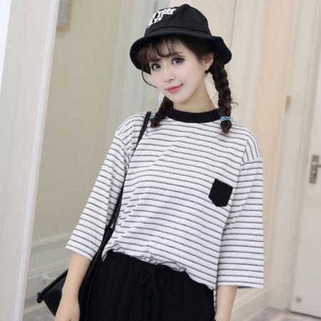 2016春夏新款韩版宽松条纹T恤女学院风半袖T恤女七分袖上衣