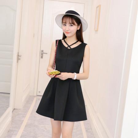 2016夏装新品连衣裙韩版无袖纯色性感修身V领连衣裙