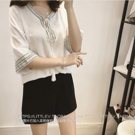 雪纺t恤女2016夏装新款时尚民族风系带V领衬衣七分袖上衣潮