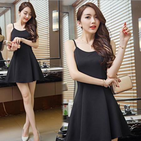 2016夏季新款欧美小黑裙A字裙吊带打底连衣裙