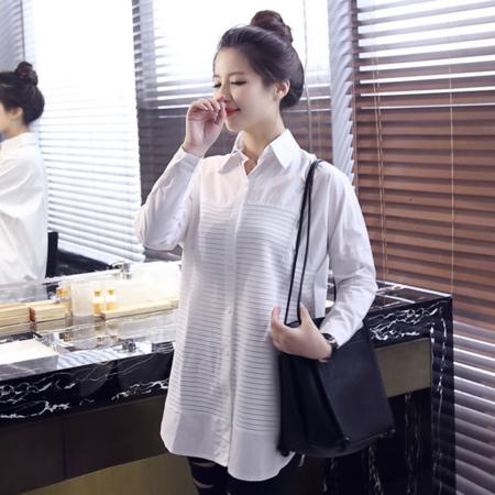 2016女式衬衫中长款宽松女衬衫长袖白衬衫棉大码白衬衣女
