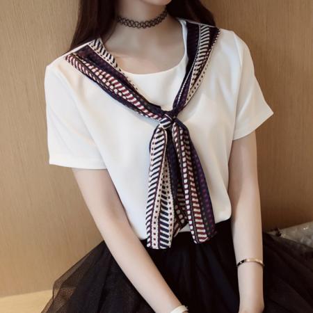 2016新款雪纺衫女短袖夏女装学院修身时尚系带打