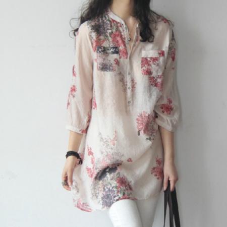 2016新款夏装清新大码碎花轻薄棉中长款七分袖衬衫韩版文艺女装