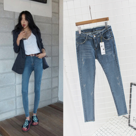 2016韩版铅笔牛仔裤女小脚裤女铅笔裤显瘦弹力修身紧身裤子