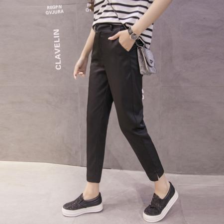2016夏季韩版西裤九分裤女小脚开叉女式休闲裤显瘦铅笔裤