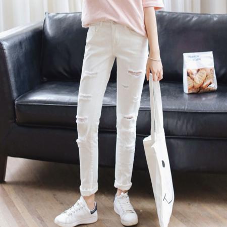 2016韩版弹力显瘦小脚铅笔裤黑白色牛仔裤长裤
