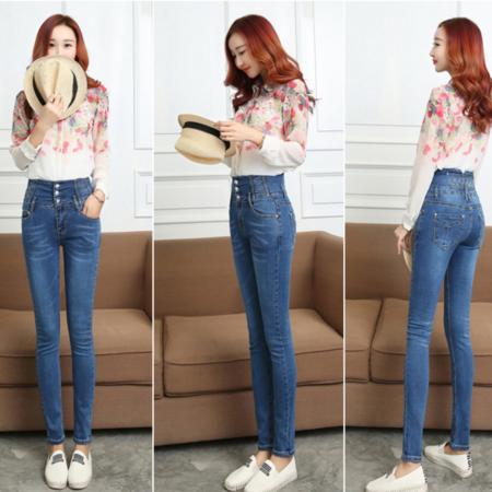 2016新款韩版修身显瘦小脚铅笔裤子 高腰牛仔长裤女式牛仔裤
