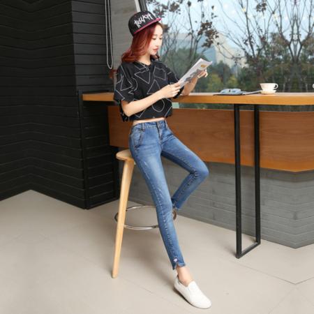2016新款修身显瘦牛仔九分裤女 韩版小脚铅笔裤牛仔裤女