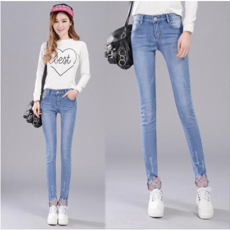 2016新款修身显瘦小脚铅笔裤牛仔长裤薄款牛仔裤女式