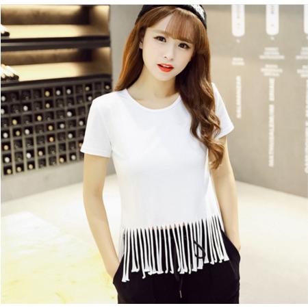 2016夏季新款修身显瘦韩版短袖t恤 流苏圆领学生t恤女