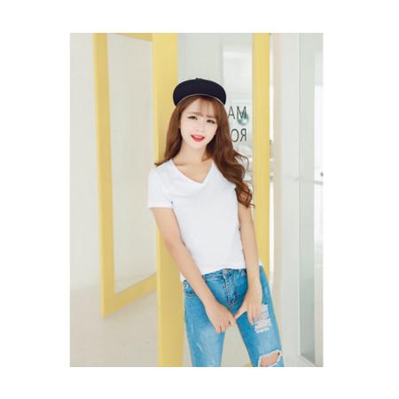 2016夏季新款修身韩版纯打底衫学生短袖t恤女