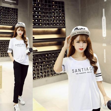 2016夏季新款修身显瘦韩版女装短袖t恤 印花圆领学生打底衫女上衣